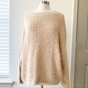 NWT LOU & GREY Alistar Fuzzy Sweater XL Cream